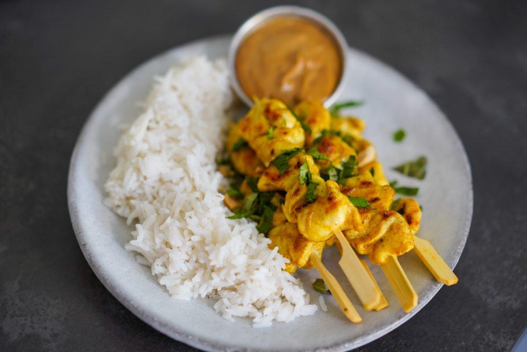 riz coco poulet satay