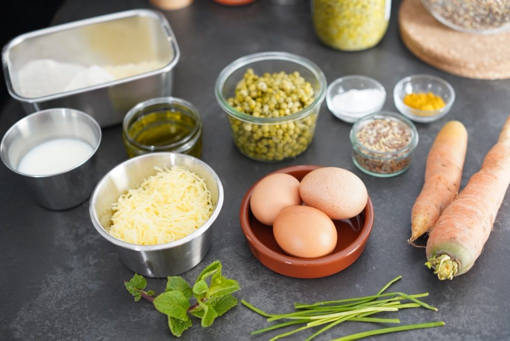 ingredients cake aux petits pois carotte