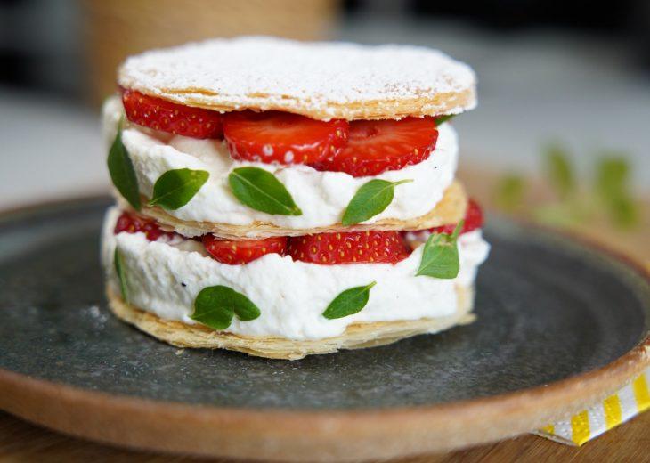 Mille-feuille fraises 5 ingrédients