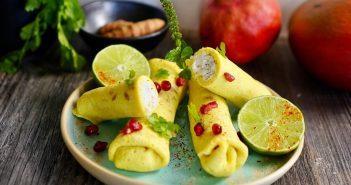 Crêpes lait de coco, haché de poisson, sauce mangue